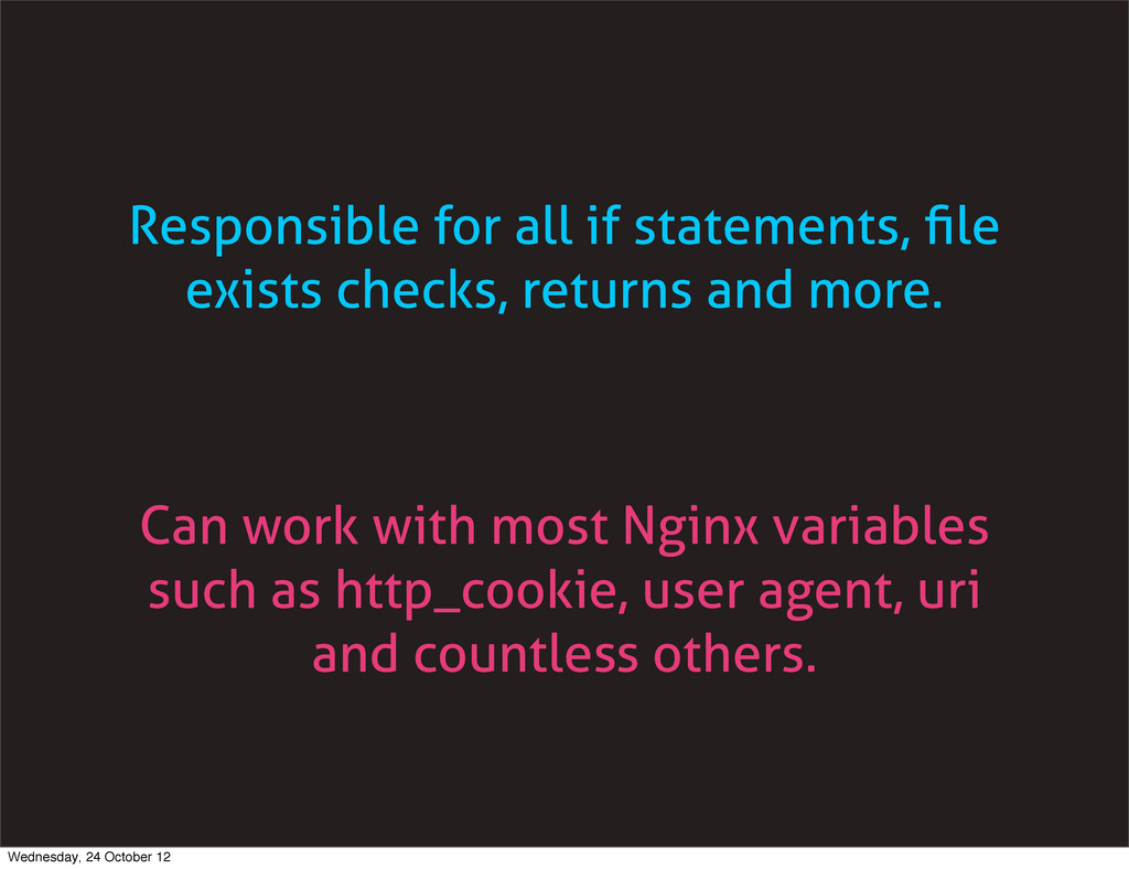 Responsible for all if statements, file exists c...