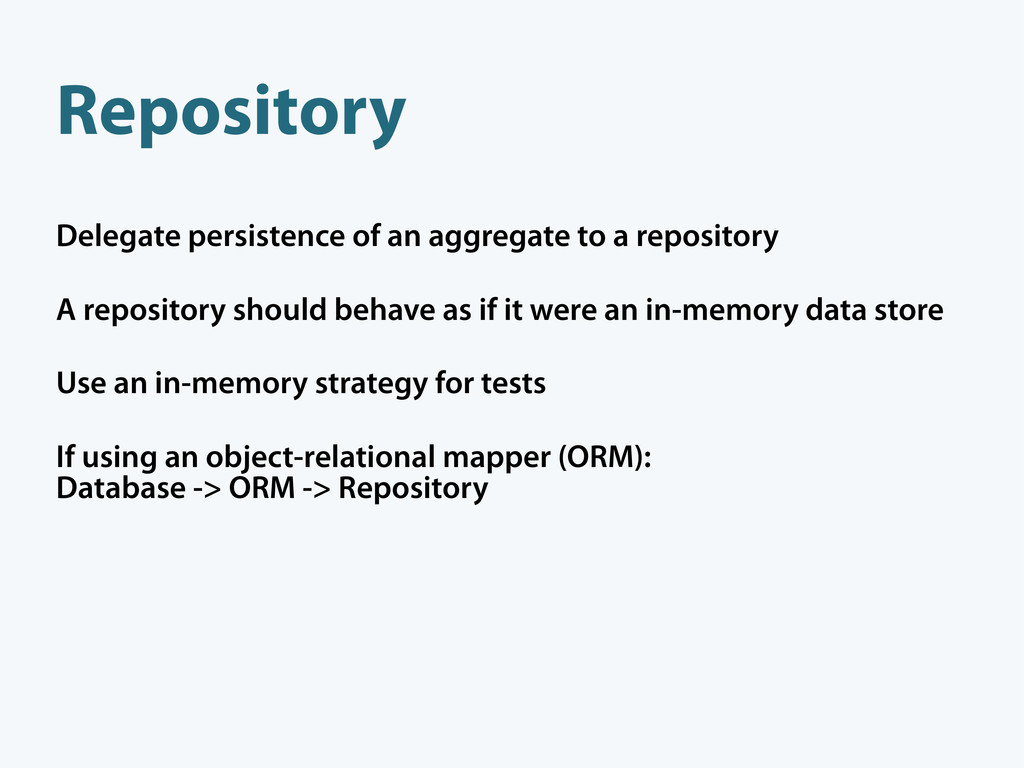 Repository Delegate persistence of an aggregate...