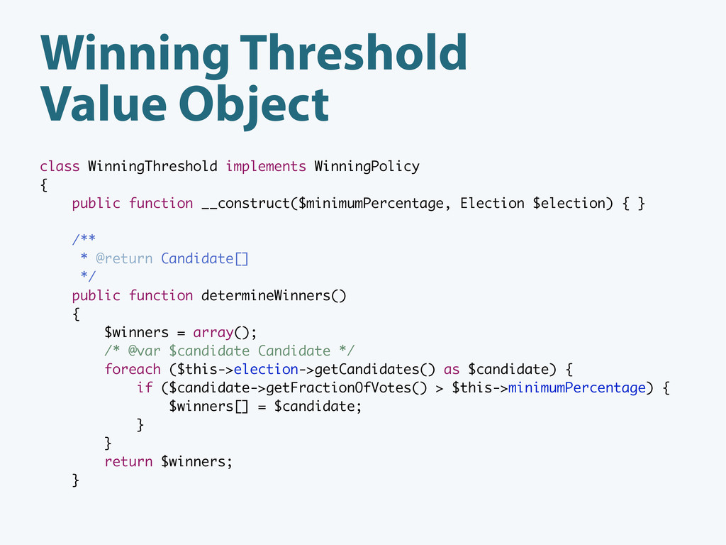 Winning Threshold Value Object class WinningThr...