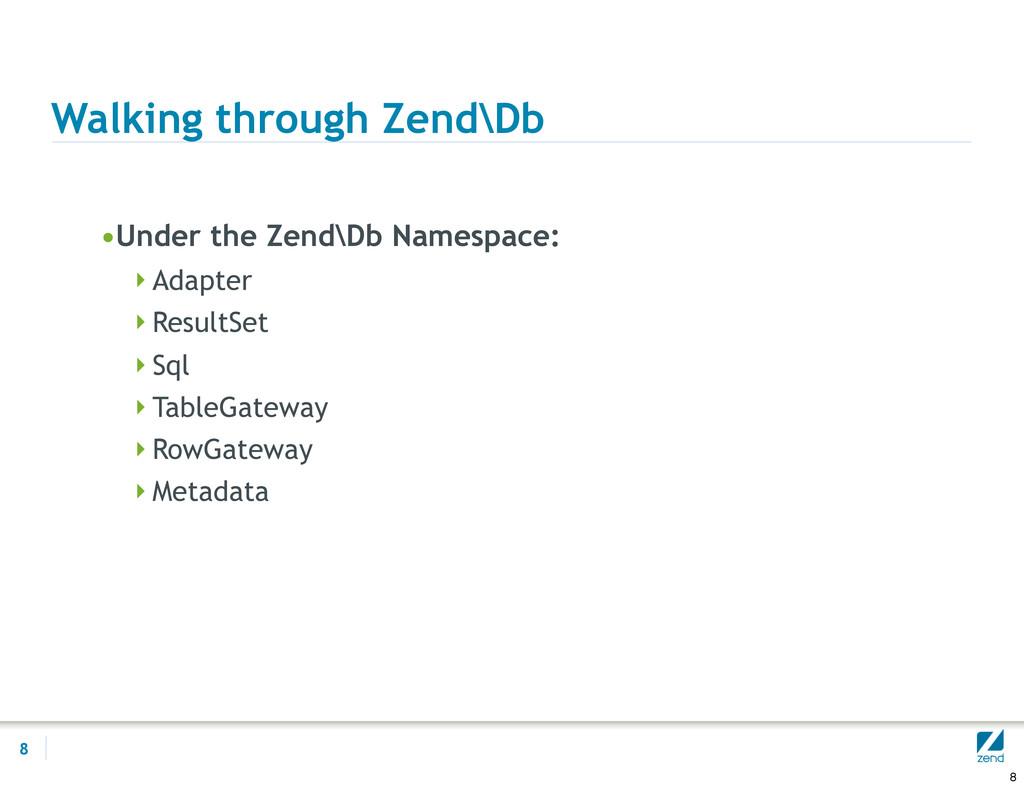 Walking through Zend\Db •Under the Zend\Db Name...