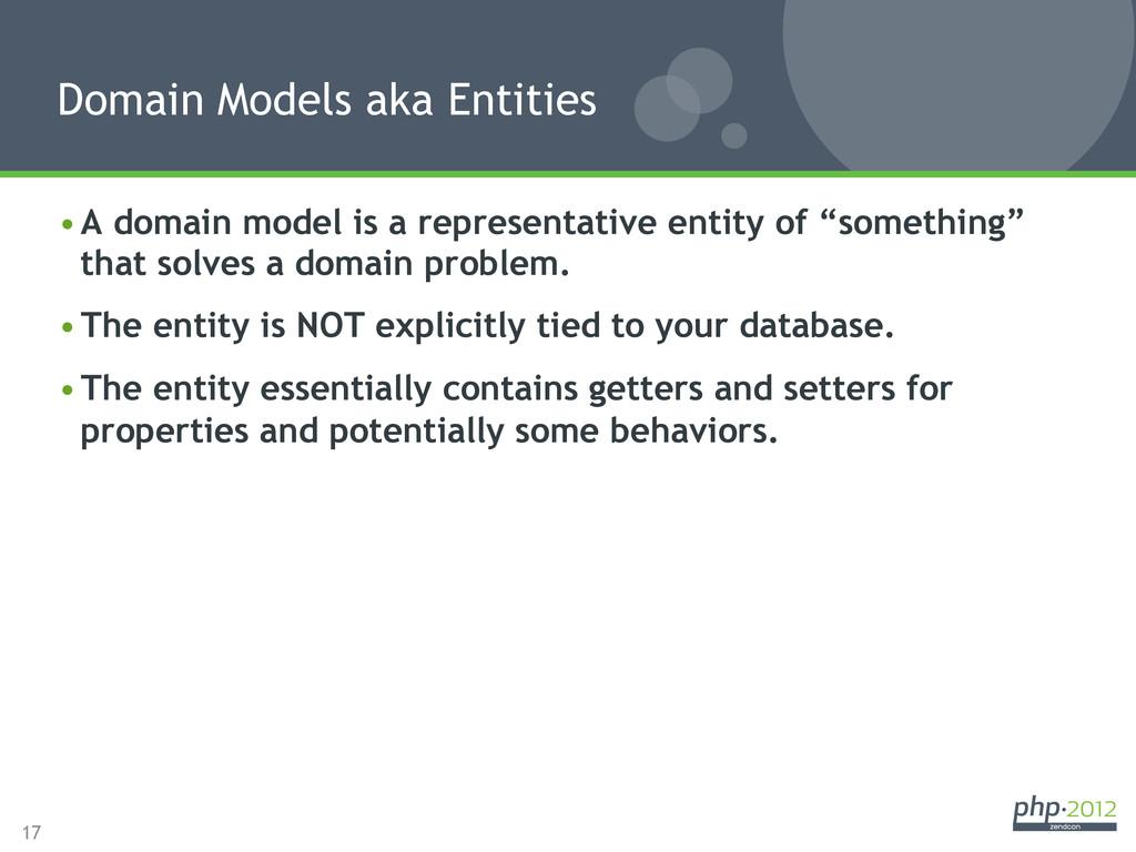 17 •A domain model is a representative entity ...