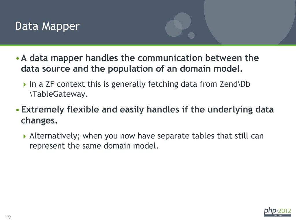 19 •A data mapper handles the communication be...