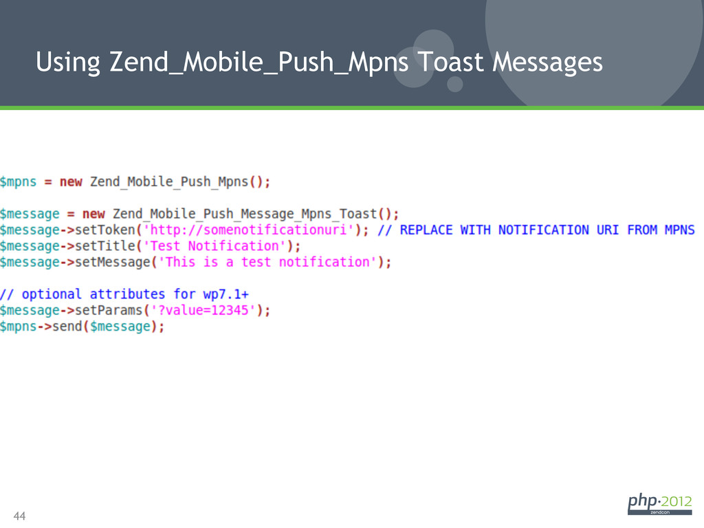 44 Using Zend_Mobile_Push_Mpns Toast Messages