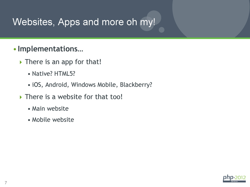 7 Websites, Apps and more oh my! •Implementati...