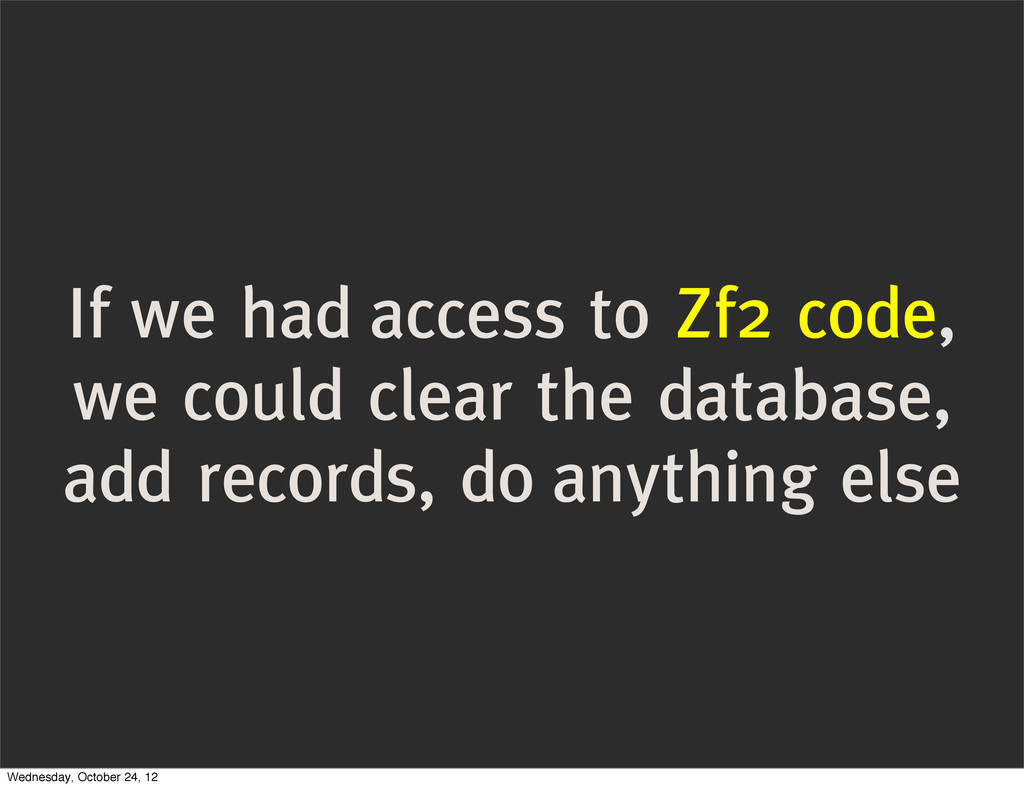 If we had access to Zf2 code, we could clear th...