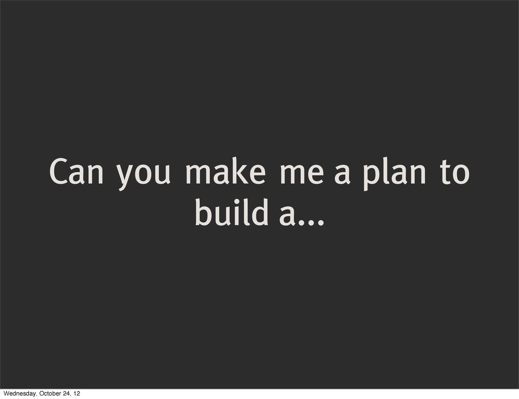 Can you make me a plan to build a... Wednesday,...