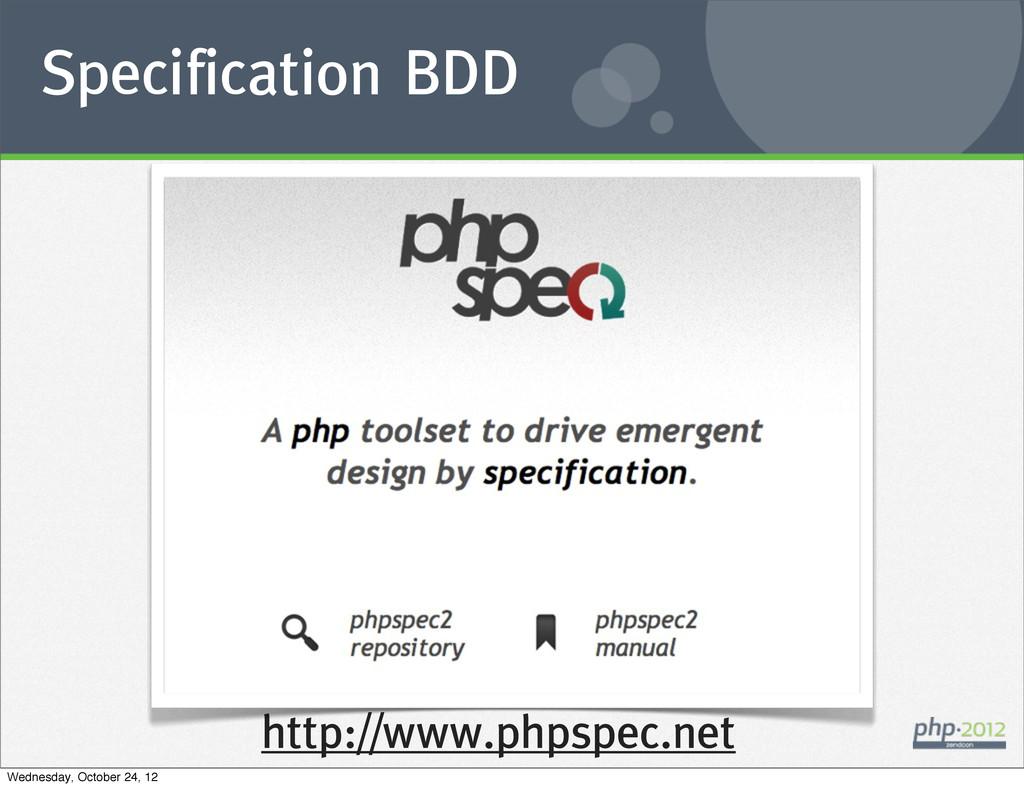 Specification BDD http://www.phpspec.net Wednes...