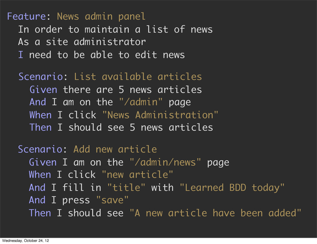Feature: News admin panel In order to maintain ...