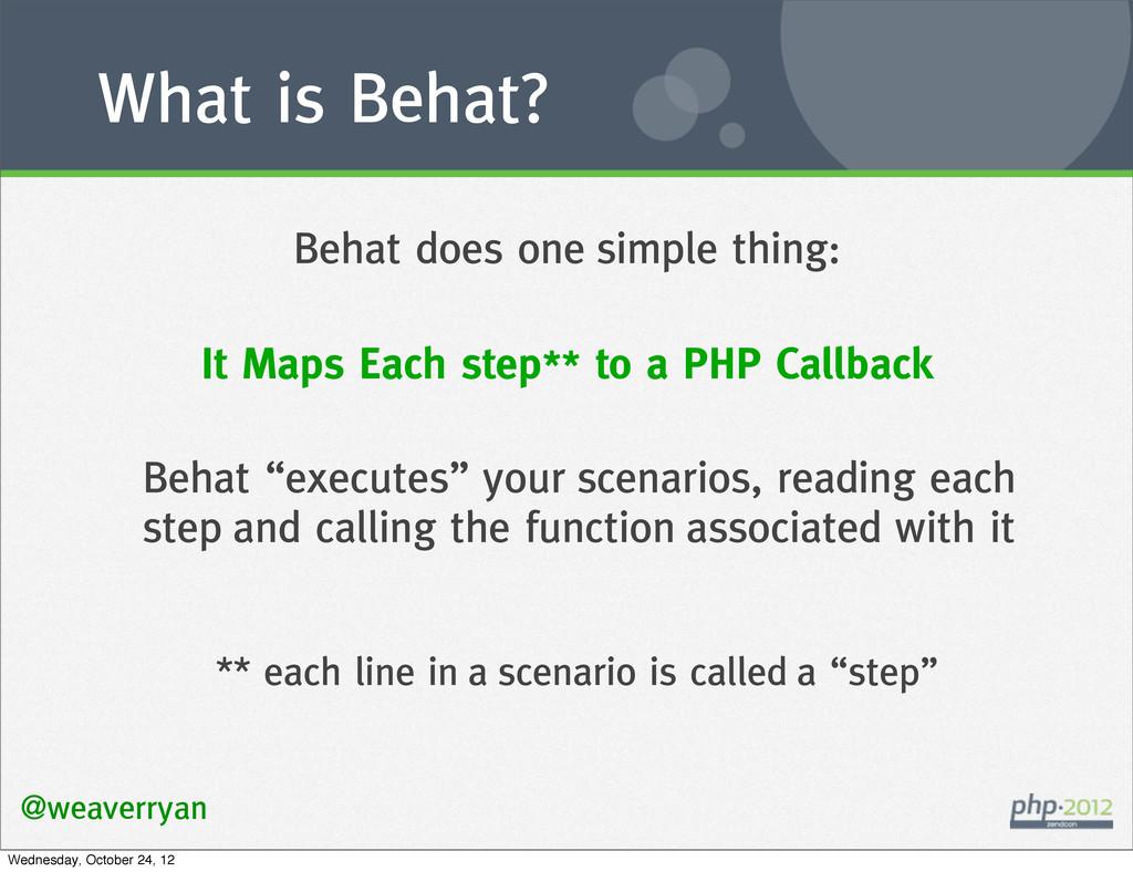 What is Behat? @weaverryan Behat does one simpl...