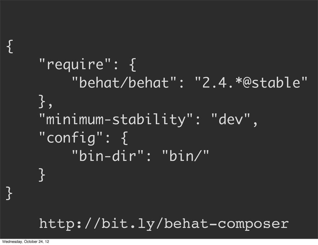"""{ """"require"""": { """"behat/behat"""": """"2.4.*@stable"""" },..."""