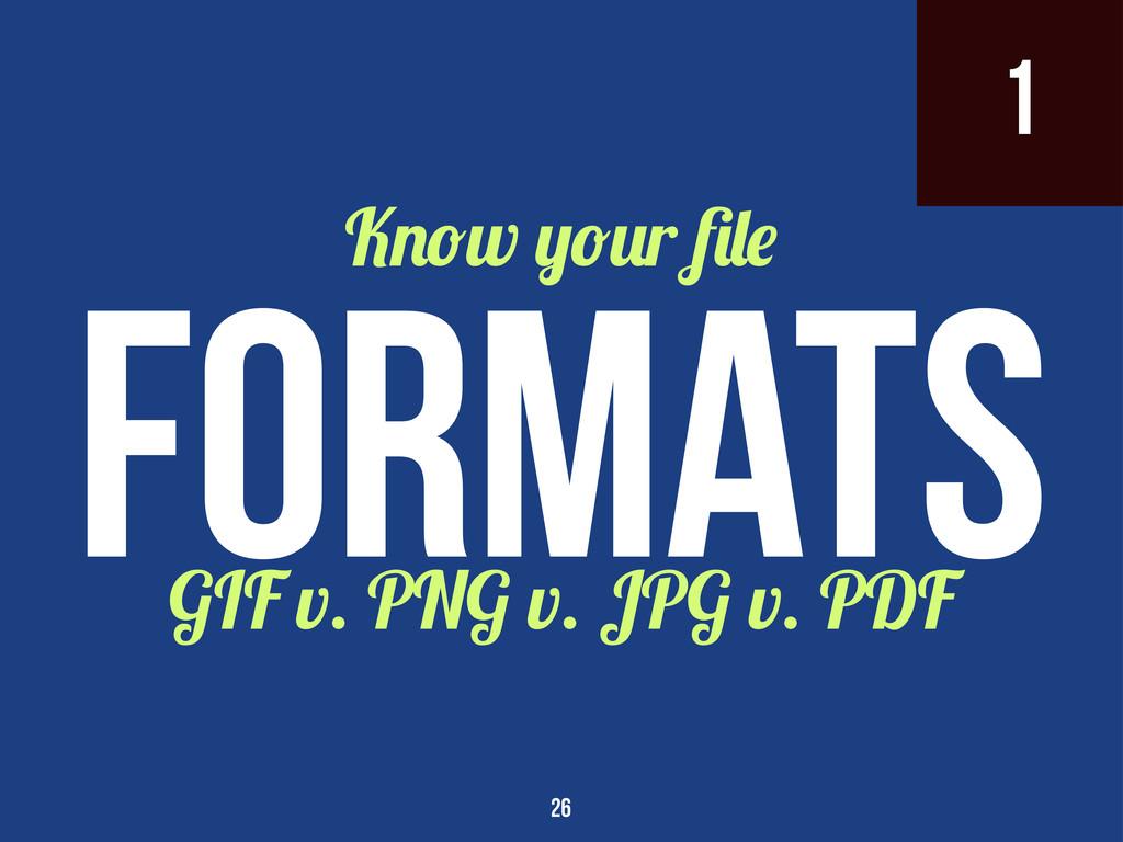 1 GIF v. PNG v. JPG v. PDF K w r Formats 26