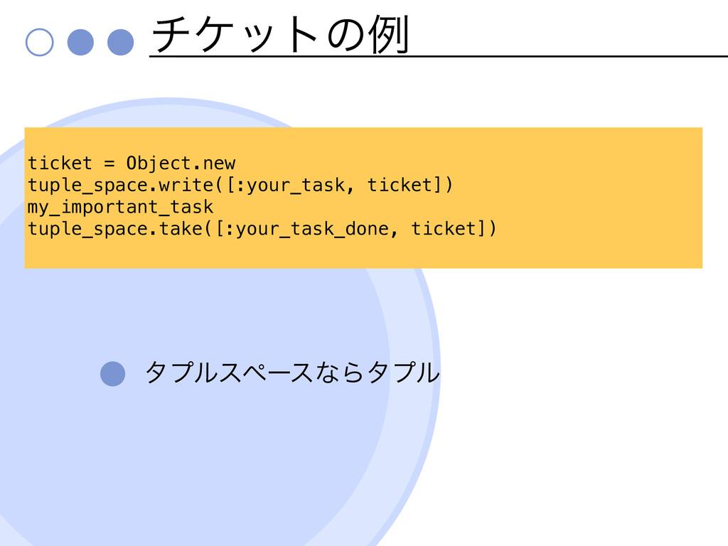 νέοτͷྫ λϓϧεϖʔεͳΒλϓϧ ticket = Object.new tuple_s...