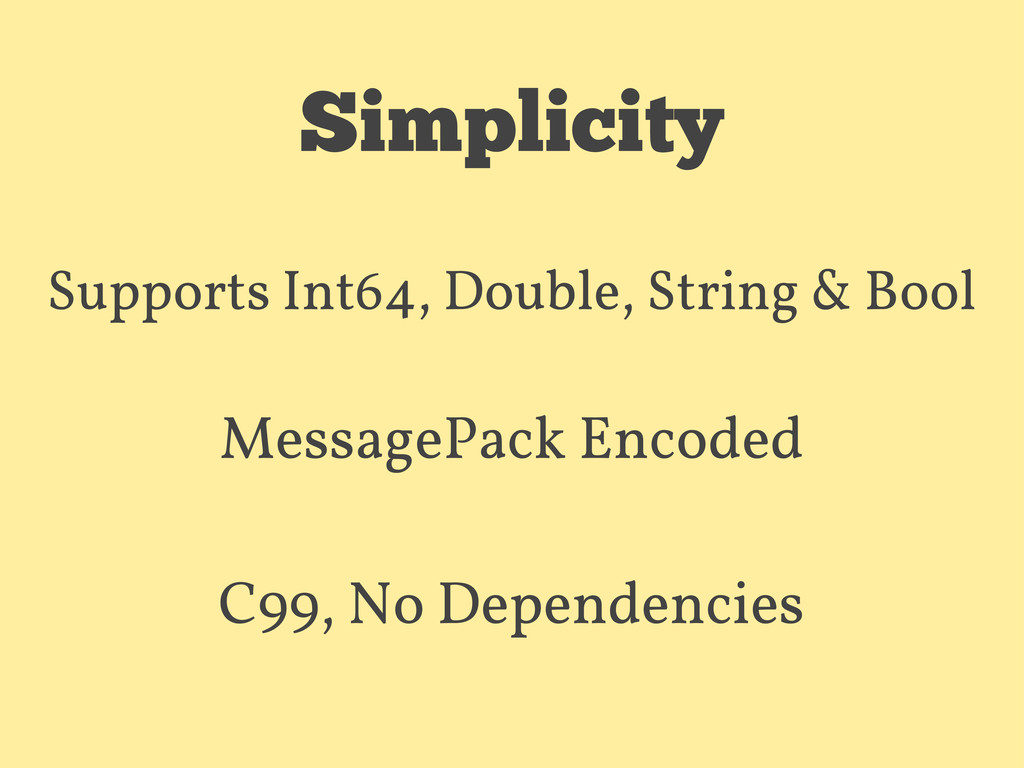 Simplicity Supports Int64, Double, String & Boo...