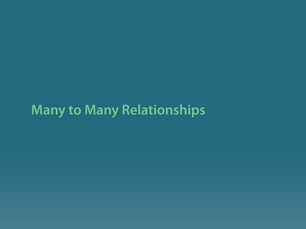 Many to Many Relationships