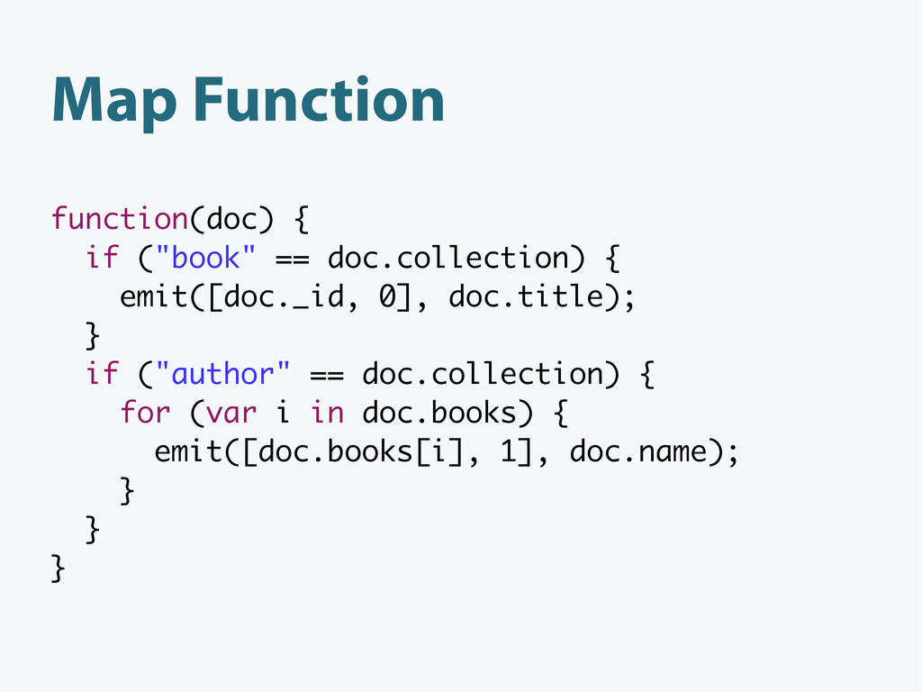 "Map Function function(doc) { if (""book"" == doc...."