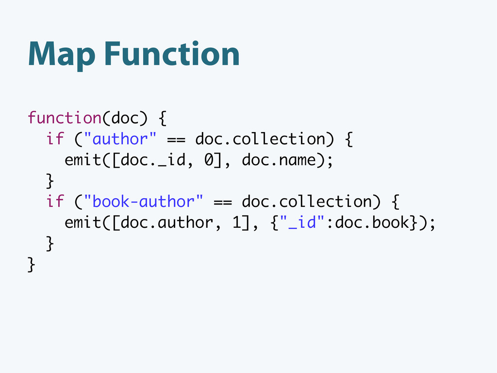 "function(doc) { if (""author"" == doc.collection)..."