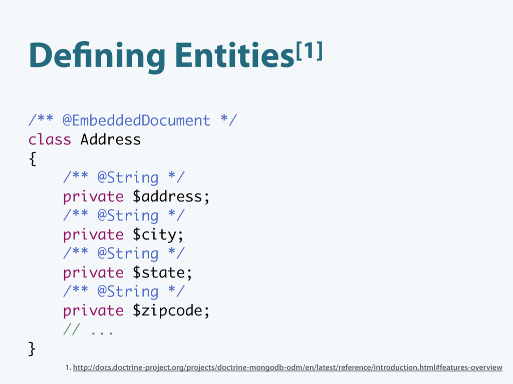 De ning Entities[1] /** @EmbeddedDocument */ cl...
