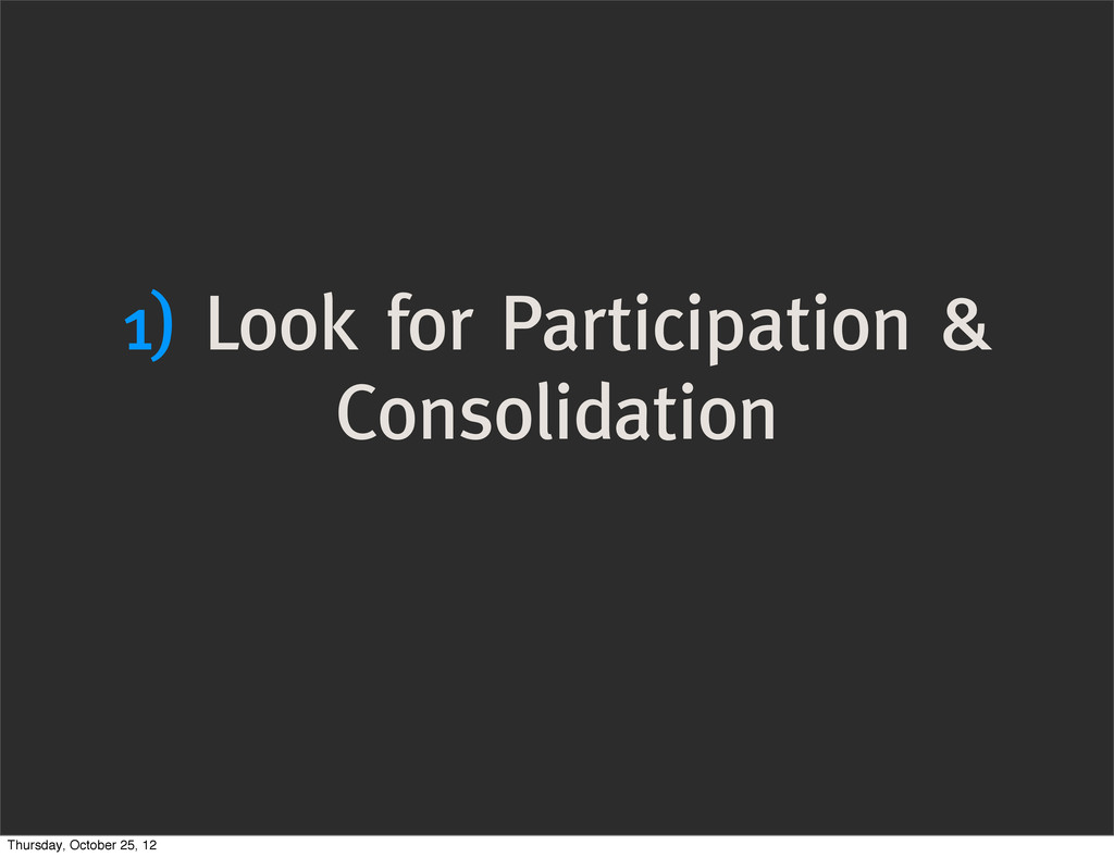 1) Look for Participation & Consolidation Thurs...