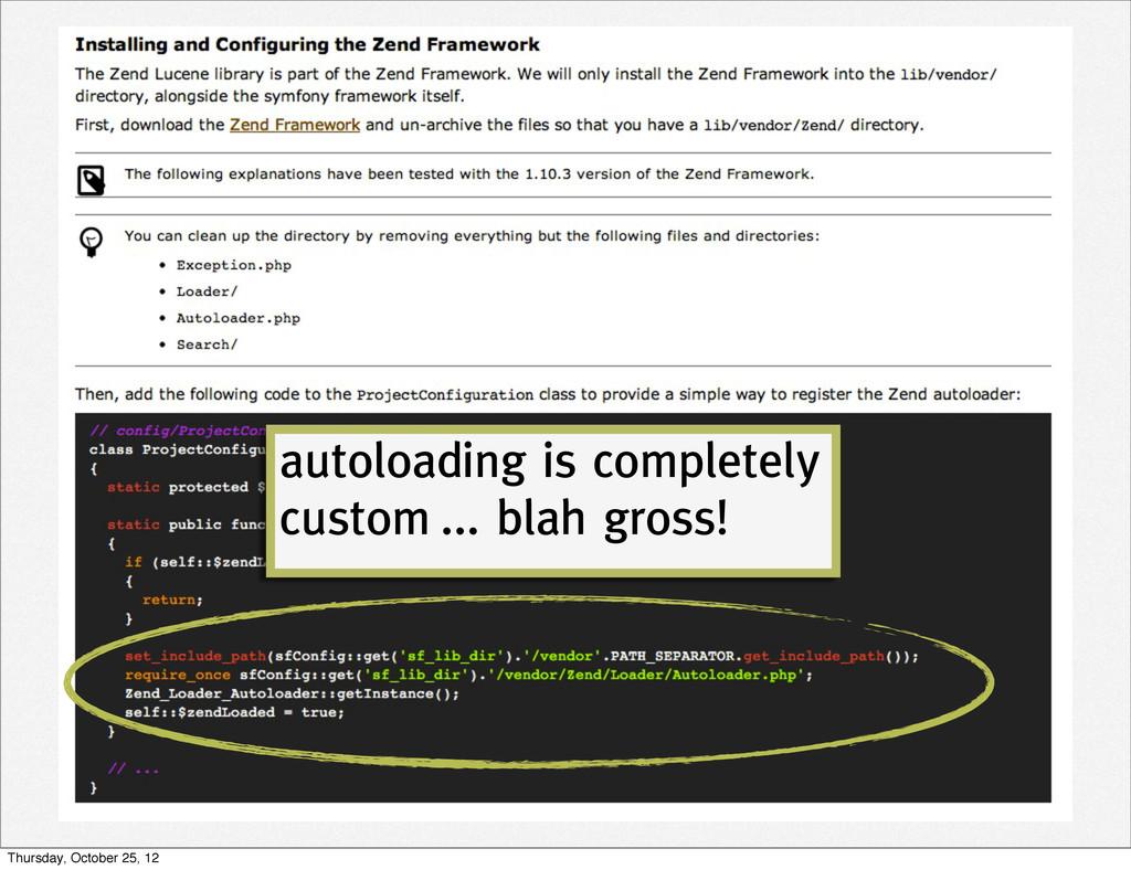 autoloading is completely custom ... blah gross...