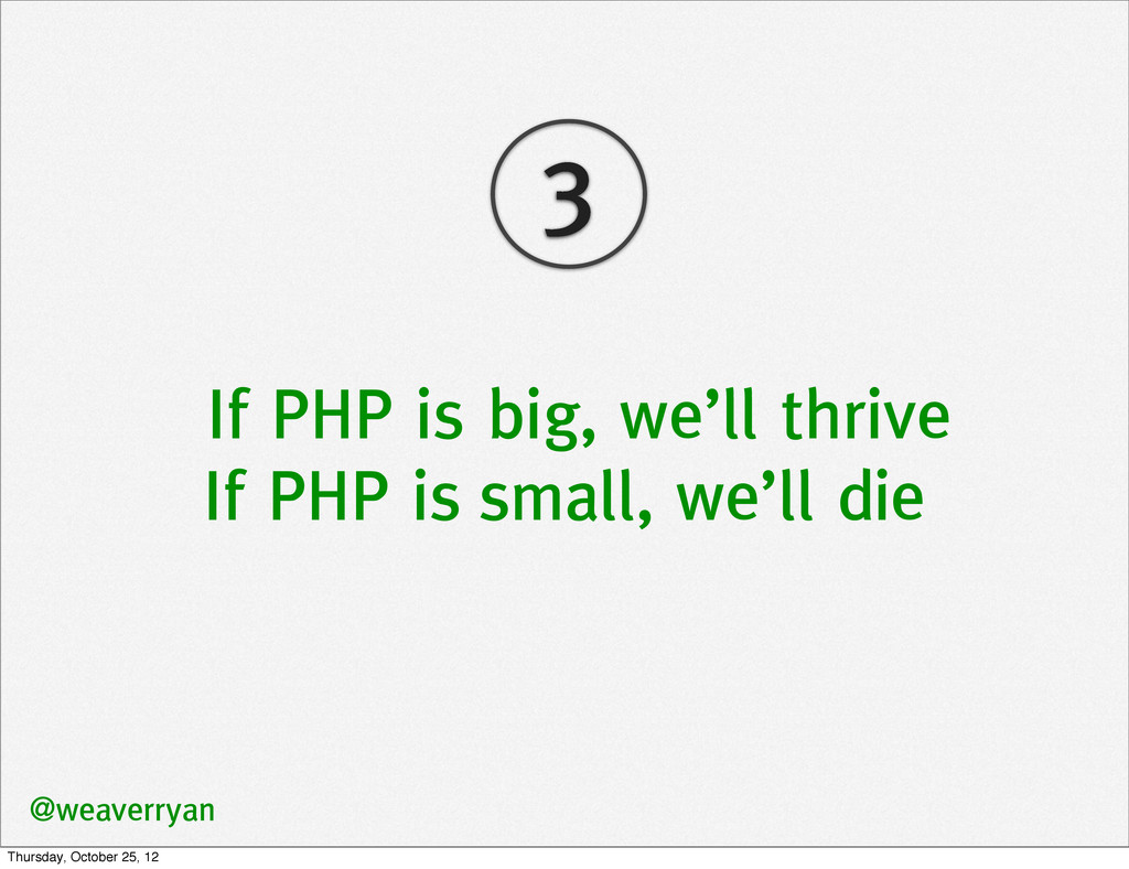 If PHP is big, we'll thrive If PHP is small, we...