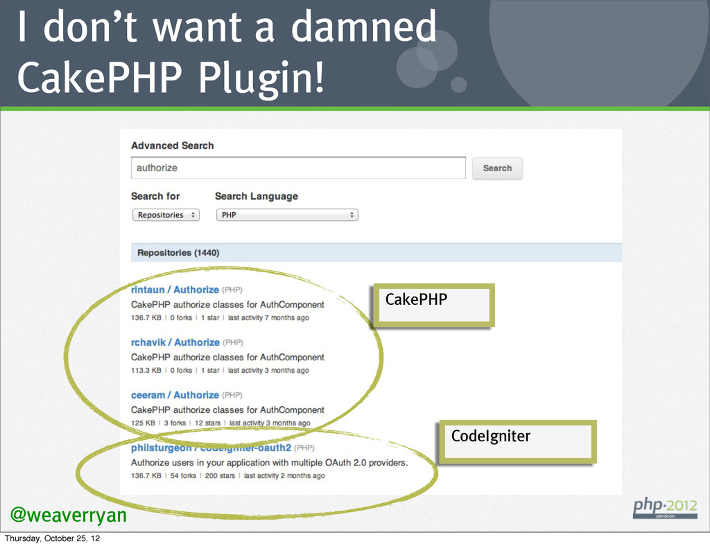 I don't want a damned CakePHP Plugin! @weaverry...