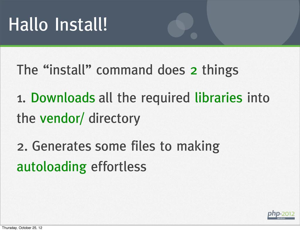 "Hallo Install! The ""install"" command does 2 thi..."
