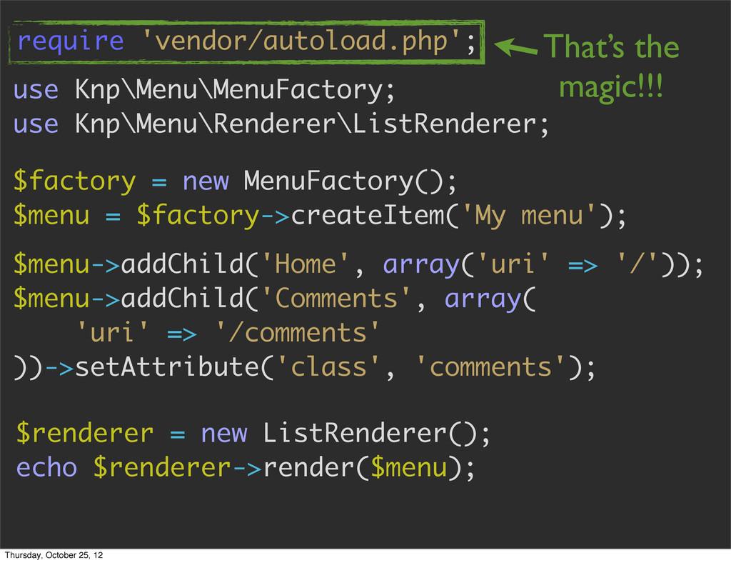 use Knp\Menu\MenuFactory; use Knp\Menu\Renderer...