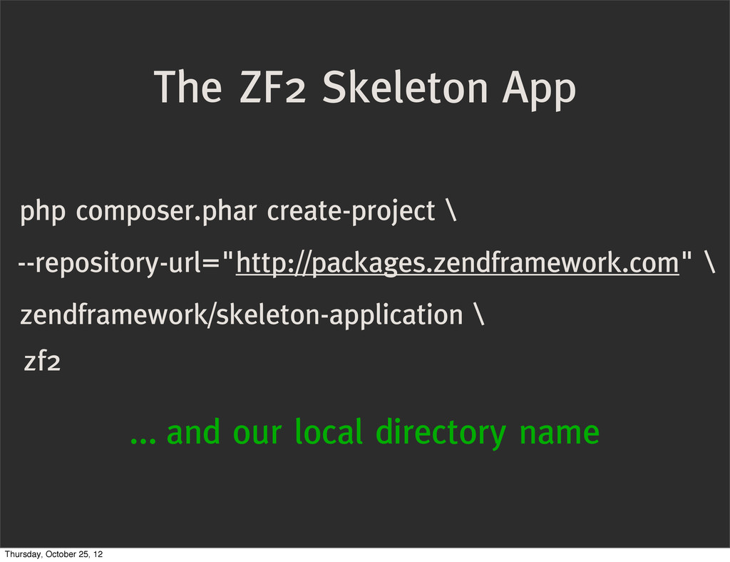 The ZF2 Skeleton App php composer.phar create-p...