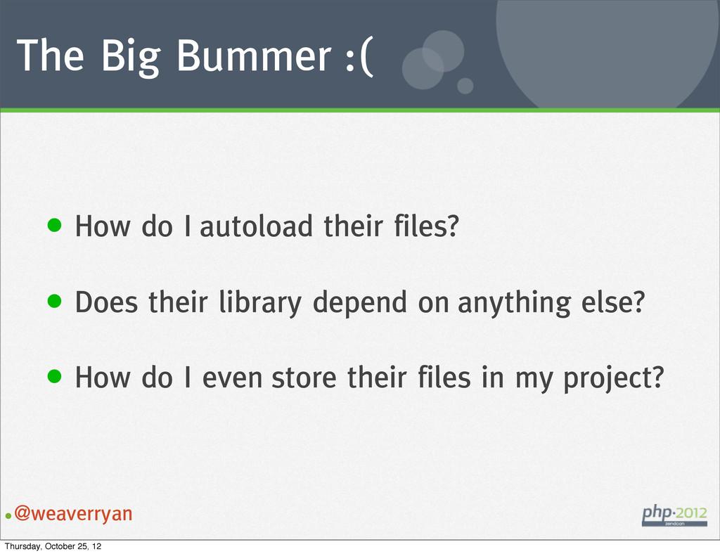 The Big Bummer :( •@weaverryan • How do I autol...