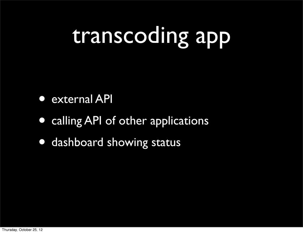 transcoding app • external API • calling API of...
