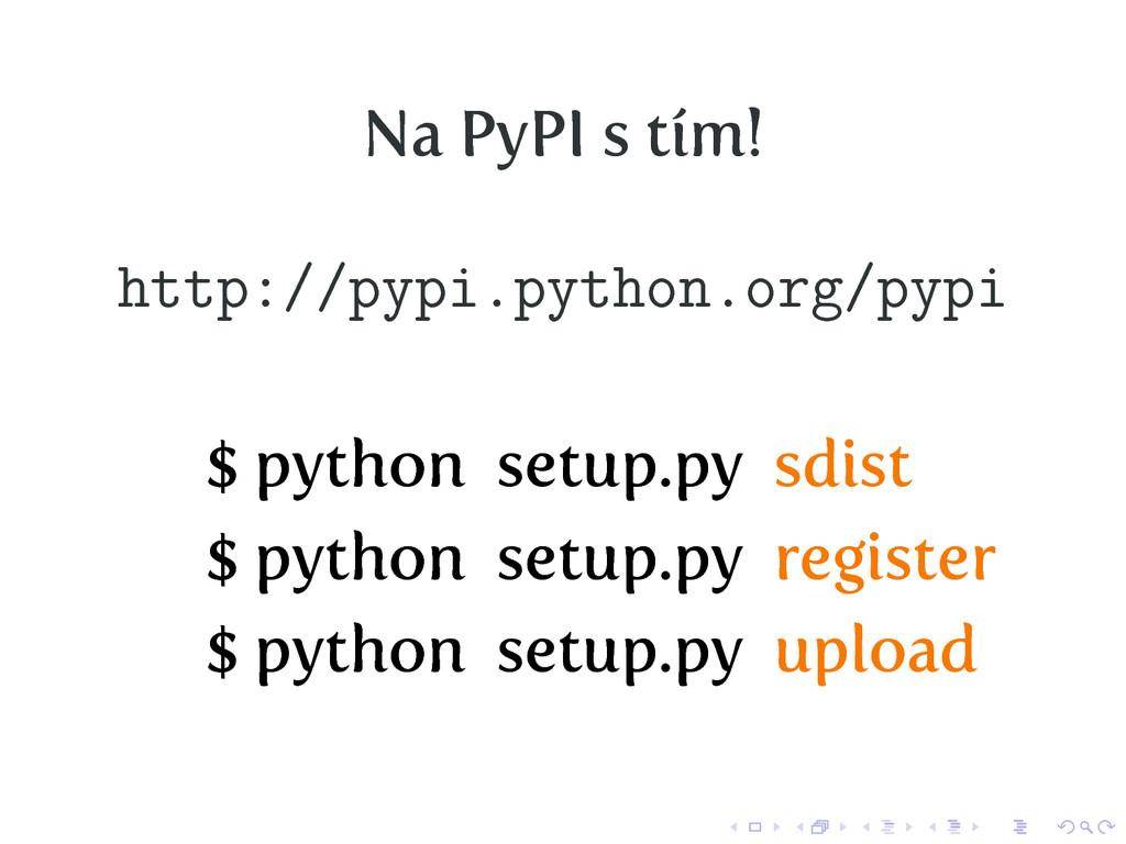 Na PyPI s tím! http://pypi.python.org/pypi $ py...