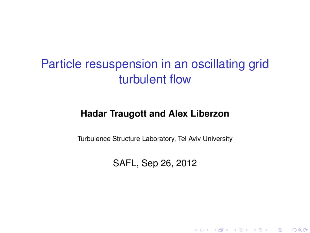 Particle resuspension in an oscillating grid tu...