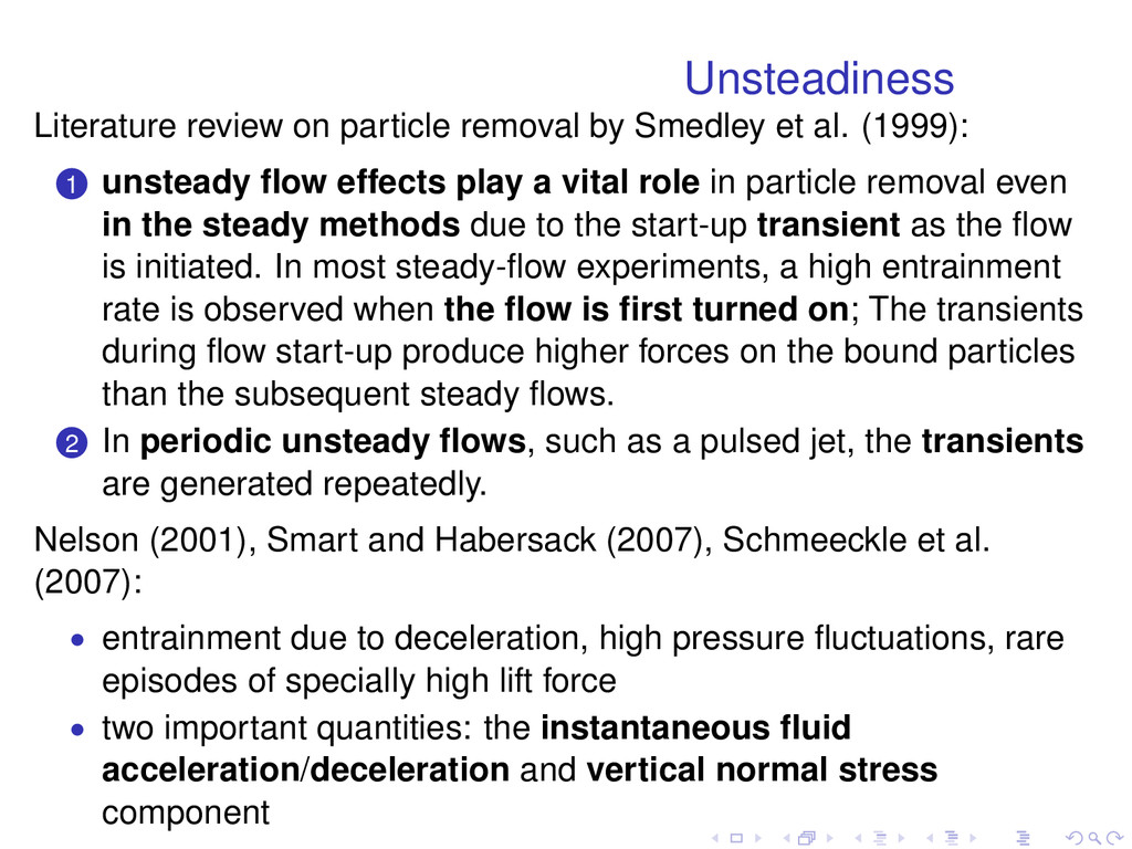 Unsteadiness Literature review on particle remo...