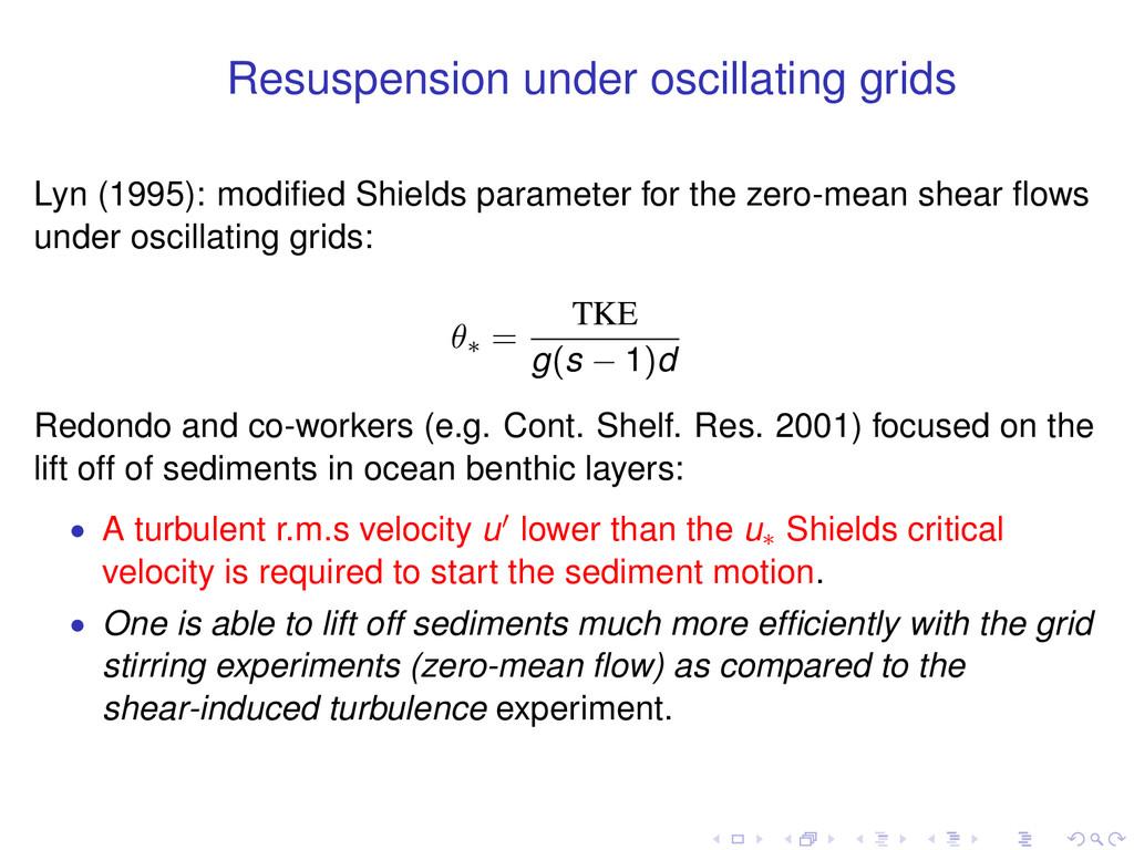 Resuspension under oscillating grids Lyn (1995)...