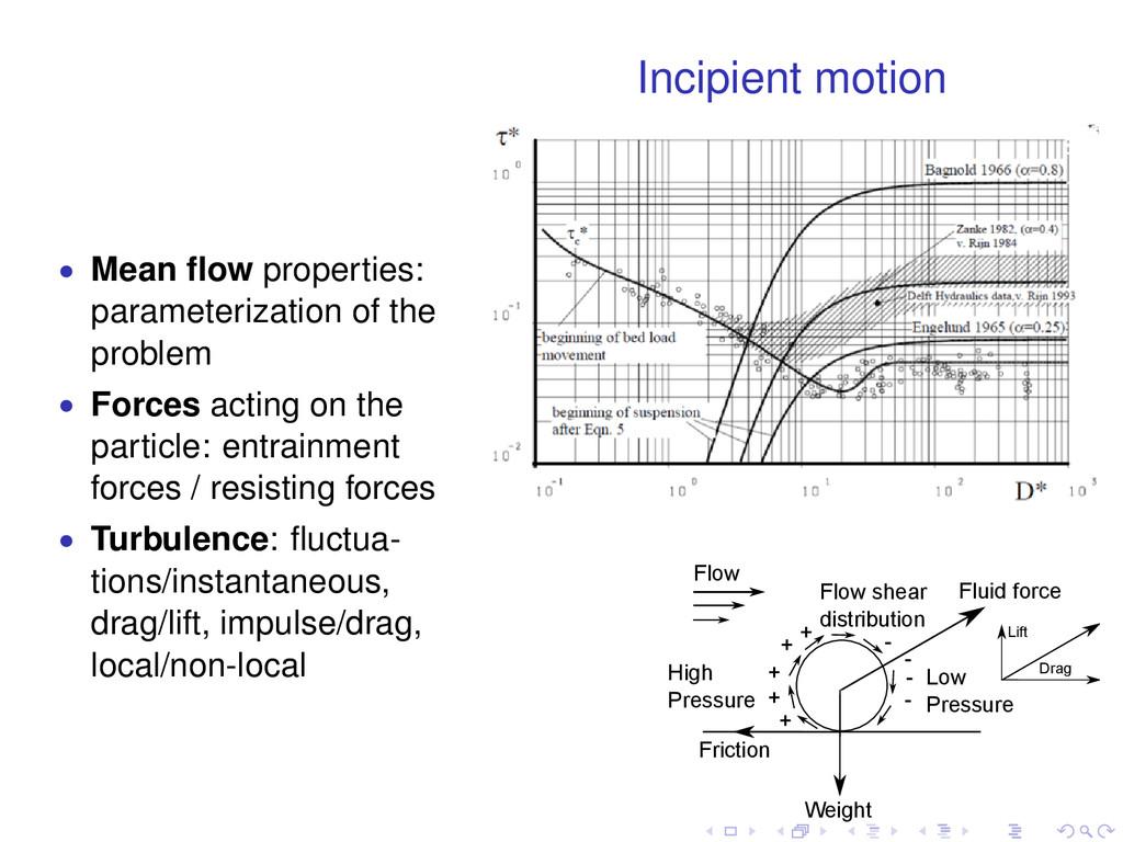 Incipient motion • Mean flow properties: paramet...