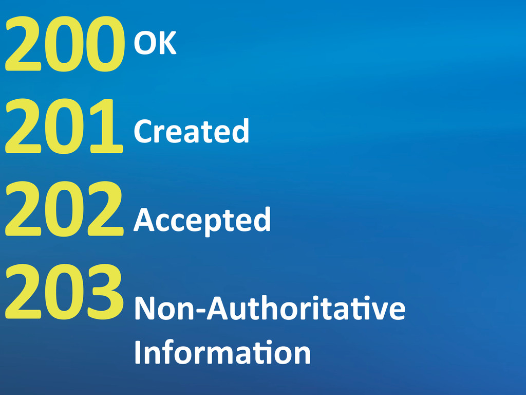 200 201 202 203 OK Created Accepted Non-­‐Autho...