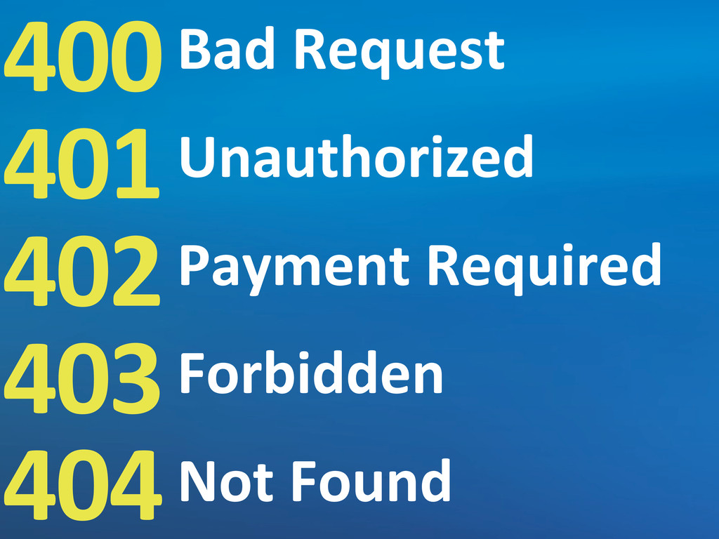 400 401 402 403 404 Bad	