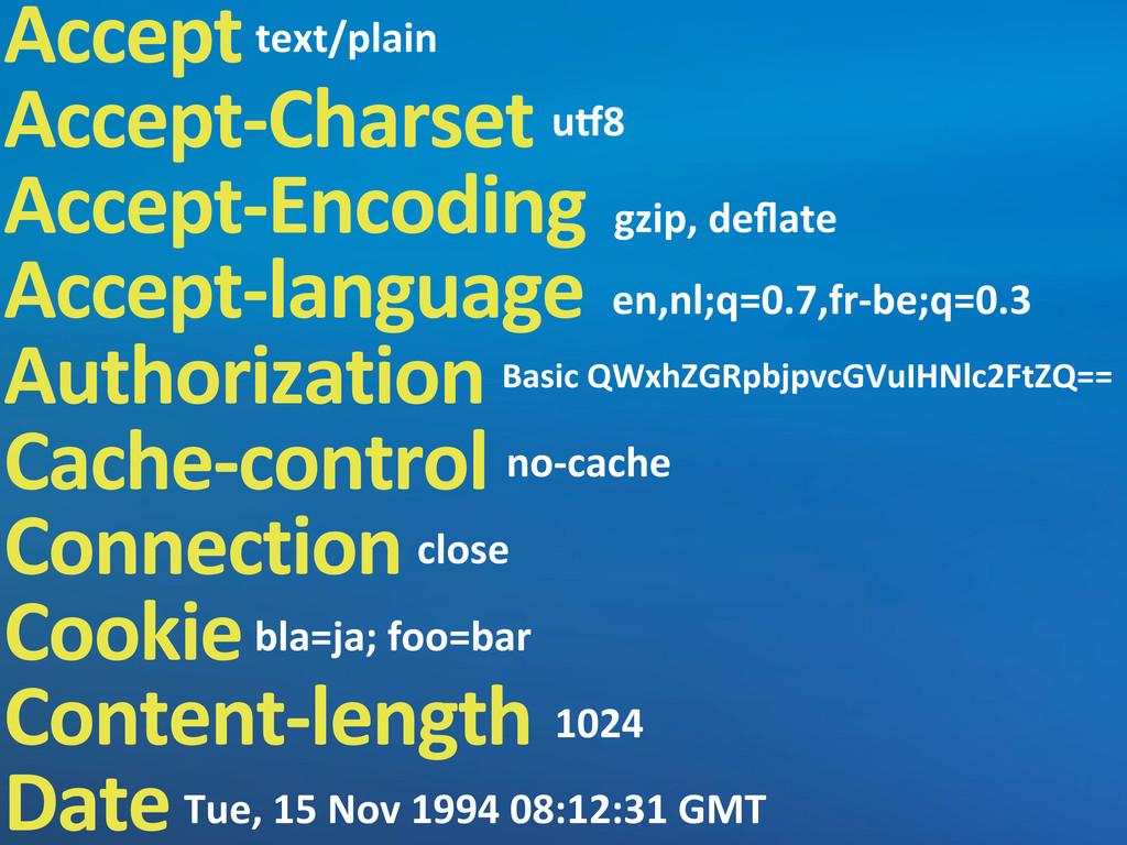 Accept Accept-‐Charset Accept-‐Encoding Accep...