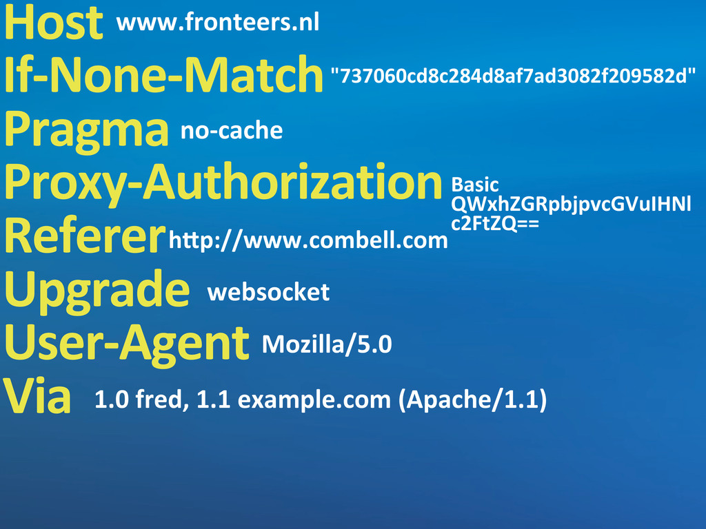 Host If-‐None-‐Match Pragma Proxy-‐Authoriza...
