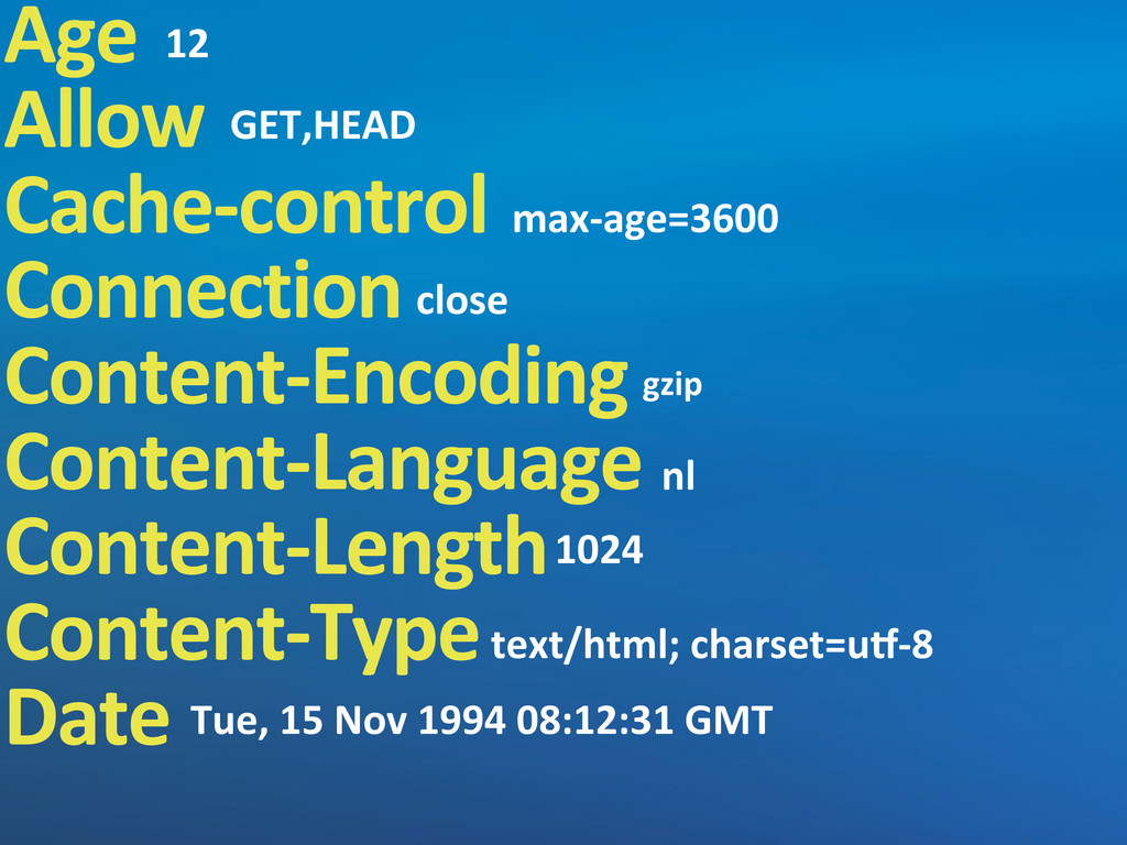 Age Allow Cache-‐control Connection Content-‐...