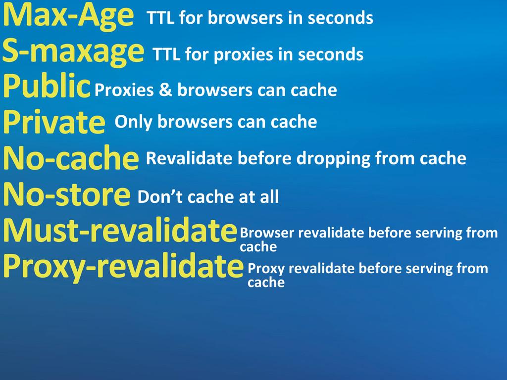 Max-‐Age S-‐maxage Public Private No-‐cache ...