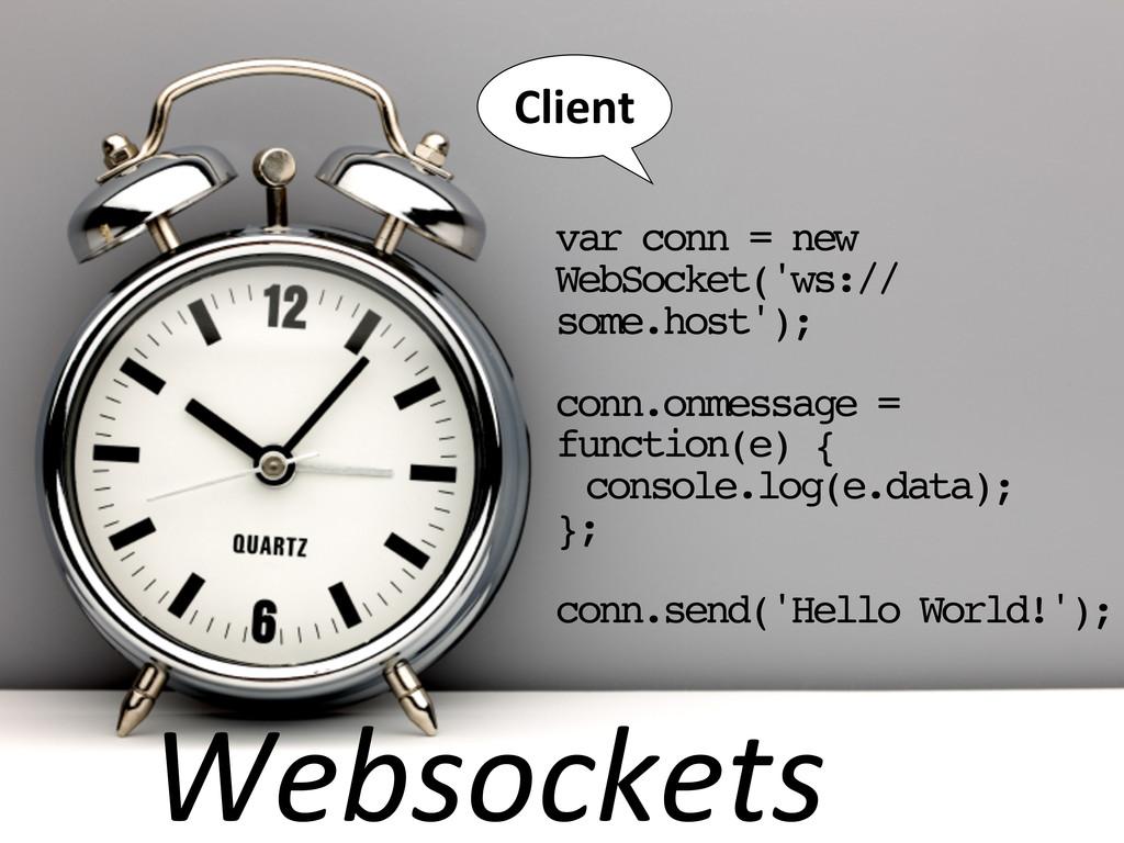 Websockets var conn = new WebSocket('ws:// some...