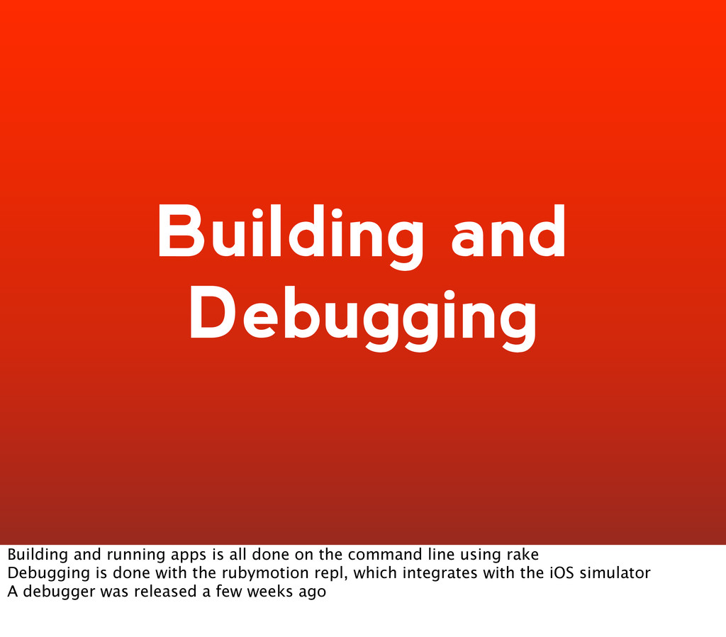 Building and Debugging Building and running app...