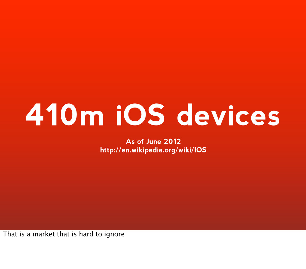 410m iOS devices As of June 2012 http://en.wiki...