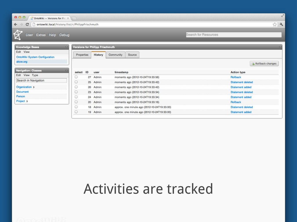 Activities are tracked