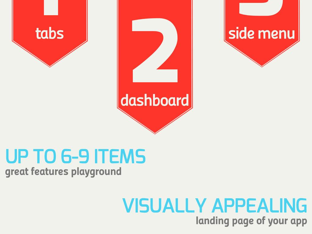 1 tabs 2 dashboard 3 side menu VISUALLY APPEALI...