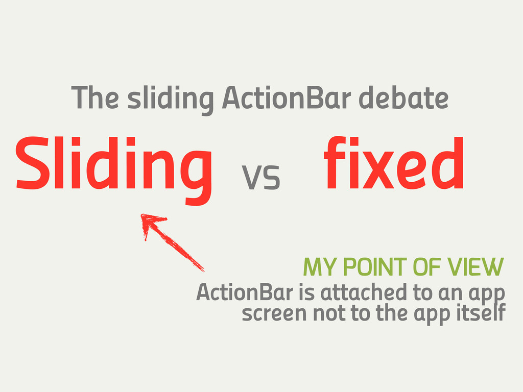 ActionBar is attached to an app screen not to t...