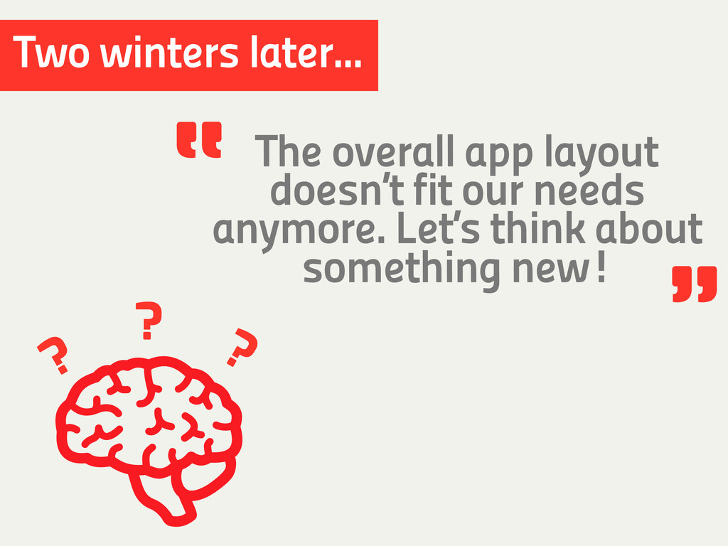 ? ? ? Two winters later... The overall app layo...