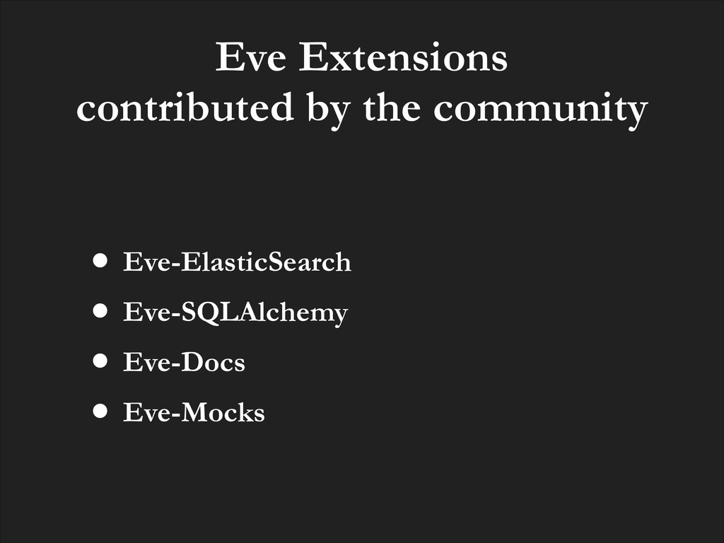 Eve Extensions contributed by the community • E...