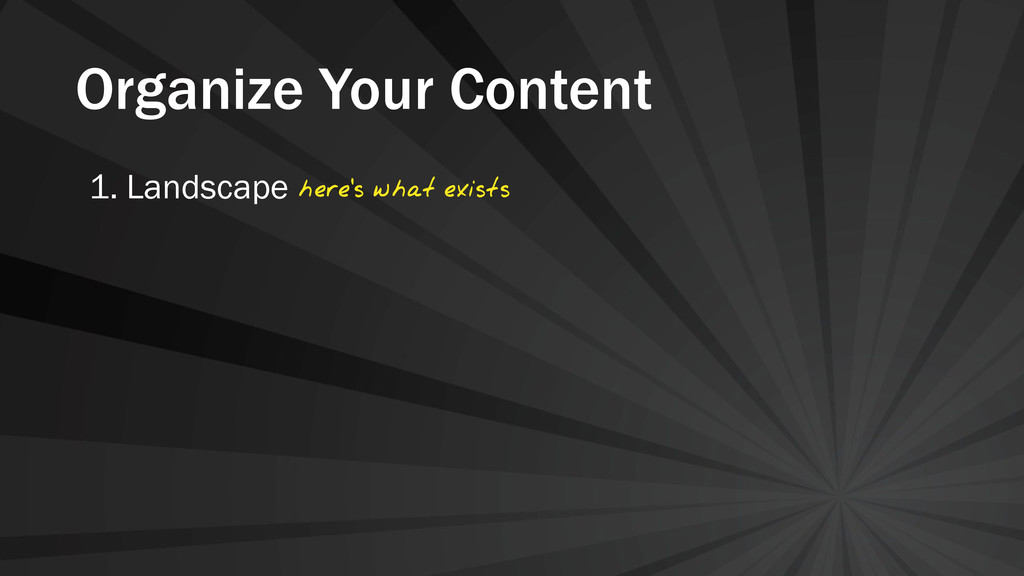 Organize Your Content 1. Landscape here's what ...